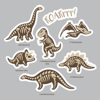 Sticker set of dinosaur skeletons in cartoon style