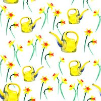 Watercolor spring floral narcissus pattern