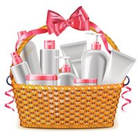 Vector Gift Basket with Cosmetics