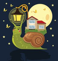 Fabulous snail with house on her back
