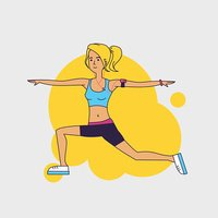 Slim blond woman doing sports exercises