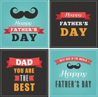 Happy fathers day greeting cards set