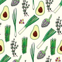 Seamless pattern background with vegetables