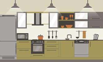 Modern kitchen interior flat design