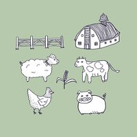 Animals Farm Illustration Doodle Vector Isolated Background.