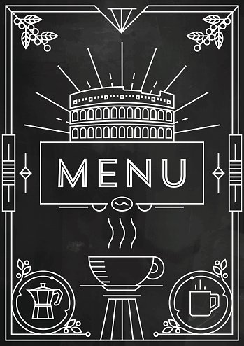 trendy coffee menu design with linear icons stock vectors clipart me