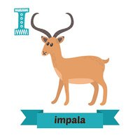 Impala. I letter. Cute children animal alphabet in vector