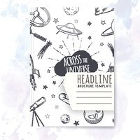 Notebook template with hand drawn astronomy doodles.