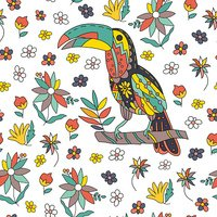 Seamless pattern with bird and flowers. Vector.