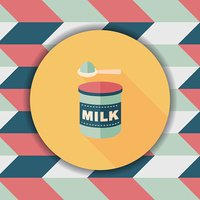 Powdered milk dairy food flat icon with long shadow