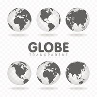 Vector Illustration of gray globe icons with different continents