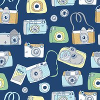 Cute hand drawn old and new cameras.
