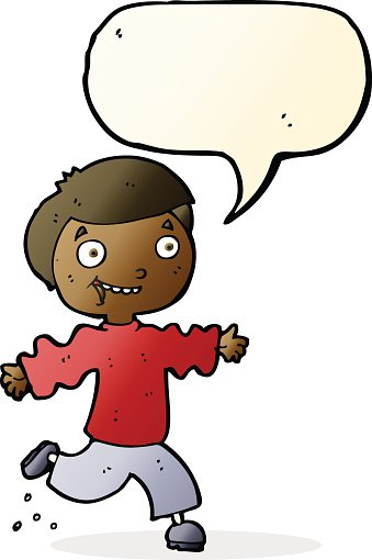 cartoon excited boy with speech bubble
