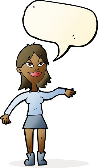 cartoon woman making hand gesture with speech bubble