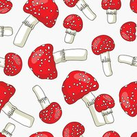 Seamless vector pattern of toadstools