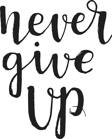 Calligraphic inscription Never give Up