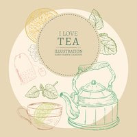 I love tea hand drawn elements vintage sketch