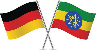 German and Ethiopian flags. Vector.