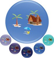 Vector illustration of beach and island backgrounds for travel advertising