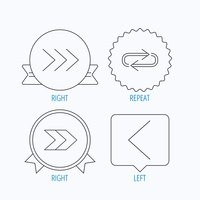 Arrows icons. Right, repeat linear signs.