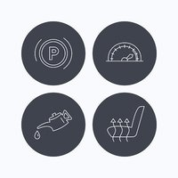 Motor oil, parking and speedometer icons.
