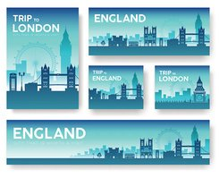 England travel trip vector banners set