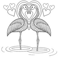 Coloring page with Flamingo in love