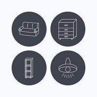 Sofa, ceiling lamp and shelving icons.