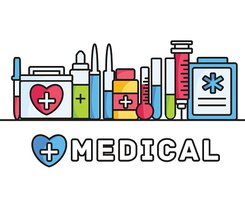 thin lines style medical equipment set icons concept background.