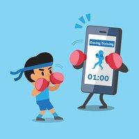 Cartoon smartphone helping man to do boxing training