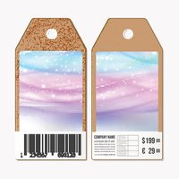 Vector tags design on both sides, cardboard sale labels with