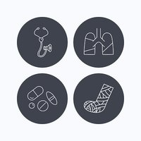 Broken foot, lungs and medical pills icons.