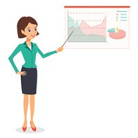 Business woman pointing on graph, diagram. Business presentation