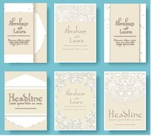 Set of wedding card flyer pages ornament illustration concept.