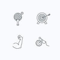 Target, table tennis and biceps icons.