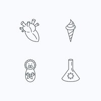 Newborn, heart and lab bulb icons.