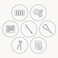 Scalpel, capsules and dental pliers icons.
