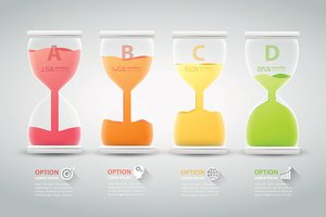 Abstract 3D hourglass illustration Infographic. Vector illustration