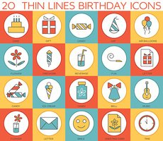 Line icons set of  happy birthday collection concept
