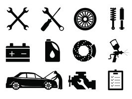 Car maintenance and repair icon set, vector