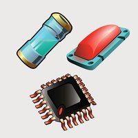 Microchip, red button and bulb with liquid