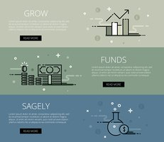 Grow funds sagely. Flat line vector web banners set
