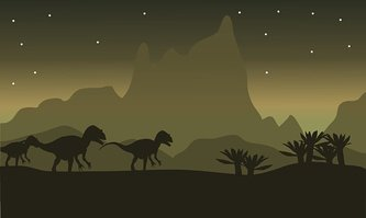Silhouette of tyrannosaurus family with star