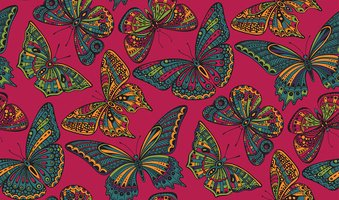 Seamless pattern with  ornate doodle hand drawn butterflies