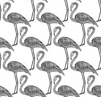 Seamless pattern with hand drawn flamingo birds in doodle style