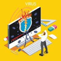 Computer Virus Trojan Malware Attack Warning Infographic Flat Isometric People