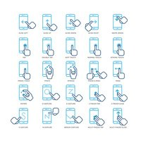 Touch screen hand gestures for smartphones outline icons set