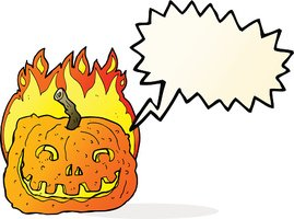 cartoon burning pumpkin with speech bubble