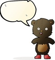 cartoon happy teddy bear in boots with speech bubble