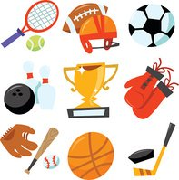 Cartoon vector illustration of fun wonky sporting icons set